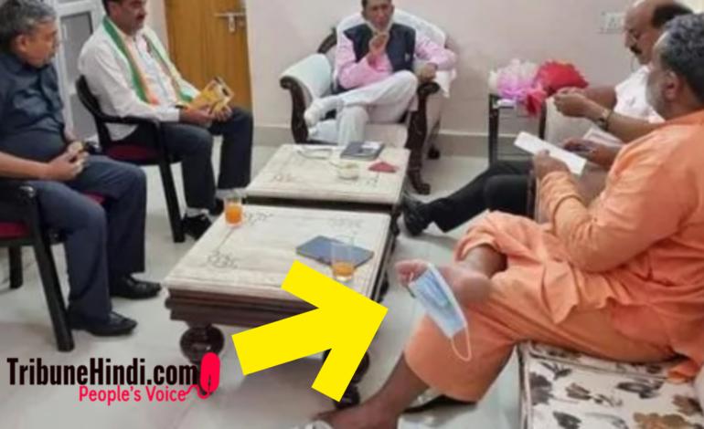 चेहरे पर नही पैर में मास्क, उत्तराखंड के मंत्री की तस्वीर हुई वायरल