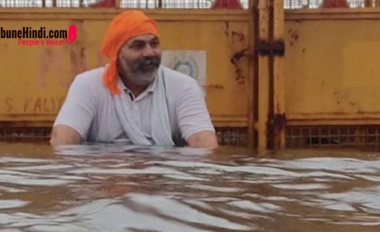 दिल्ली में बाढ़ जैसे हालात, फिर भी डटे किसान